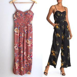 Band Of Gypsies Pink Floral Wide Leg Jumpsuit